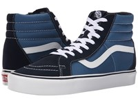 Vans Sk8 Hi Lite Suede Canvas Navy White Men's Skate Shoes Blue