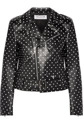 Comme Des Garcons Girl Polka Dot Faux Leather Biker Jacket Black