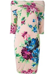 Blumarine Floral Print Midi Dress Pink And Purple