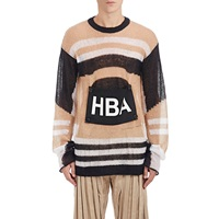 Hood By Air Logo Patch Loose Knit Sweater Camel