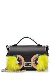 Fendi Embellished Leather Double Baguette Shoulder Bag Multicolor