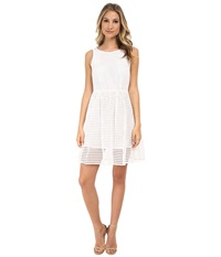 Michael Michael Kors Eyelet Boat Neck Dress White Women's Dress