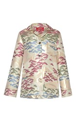 For Restless Sleepers Rea Long Sleeve Printed Silk Shirt White Pink Blue