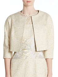 Teri Jon Tweed Bolero Jacket Gold