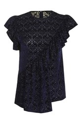 Topshop Devore Ruffle Top Navy Blue