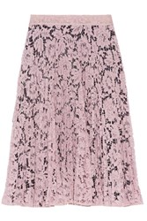 Valentino Pleated Cotton Blend Guipure Lace Skirt Pink