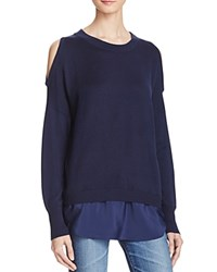 Aqua Cold Shoulder Layered Look Sweater Navy