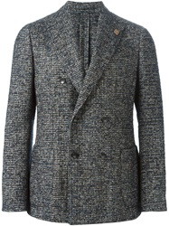 Lardini Double Breasted Tweed Blazer Blue