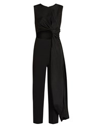Roksanda Ilincic Thurloe Cut Out Knot Front Crepe Jumpsuit Black
