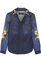 Roberto Cavalli Embroidered Denim Shirt Mid Denim