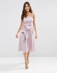 Asos Wedding Structured Midi Dress With Bow Detail Dusty Lilac Purple