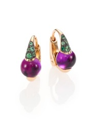 Pomellato M'ama Non M'ama Amethyst Tsavorite And 18K Rose Gold Leverback Earrings Rose Gold Amethyst