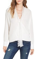 Wayf Women's 'Surrey' Lace Surplice Blouse Ivory