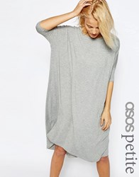 Asos Petite Oversized T Shirt Dress With Curved Hem Grey Marl