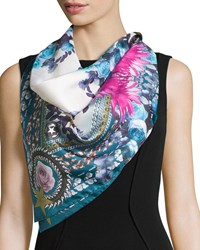 Square Paradise Flower Silk Chiffon Scarf Blue Pink Givenchy