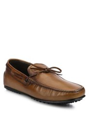Tod's Burnished Leather City Driver Moccasins Brown