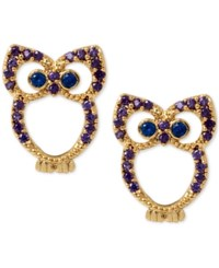 Betsey Johnson Gold Tone Blue Crystal Owl Stud Earrings
