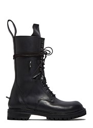 Rick Owens Elastic Long Chunky Lace Up Boots Black