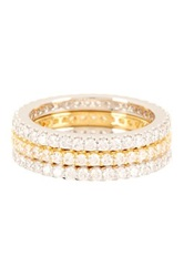 Two Tone Pave Cz Eternity Band Set Metallic