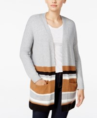 Styleandco. Style Co. Striped Colorblocked Cardigan Only At Macy's Light Grey Heather