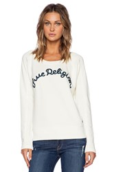 True Religion Embroidered Sweatshirt Cream