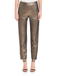 St. John Flat Front Cropped Pants Gold Multi