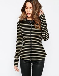 Vila Striped Peplum Blazer Black