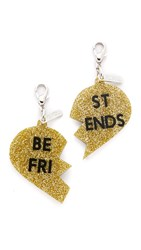 Edie Parker Best Friend Charms Silver Glitter Gold Glitter