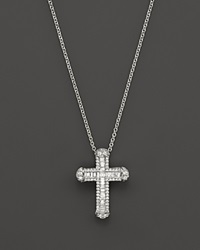 Roberto Coin 18K White Gold Classic Cross Pendant Necklace With Diamonds 18