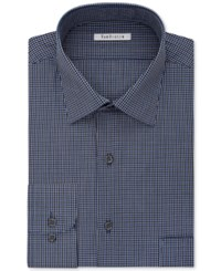 Van Heusen Men's Classic Fit Wrinkle Free Blue Multi Check Dress Shirt Navy