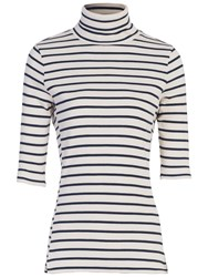 French Connection Duty Stripe Short Sleeve Polo Neck Top Classic Cream Nocturnal
