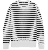 Dolce And Gabbana Striped Cashmere Sweater White