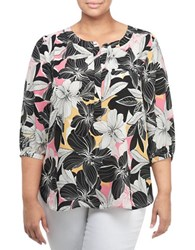 Nydj Plus Patterned Tunic Top Floral Mirage