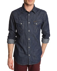 Wrangler Western Dark Blue Denim Shirt