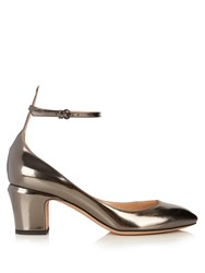 Valentino Tan Go Block Heel Leather Pumps Grey