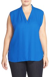 Plus Size Women's Halogen Pleat V Neck Shell Blue Boat