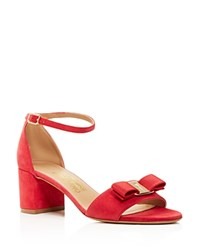 Salvatore Ferragamo Gavina Ankle Strap Block Heel Sandals Pamplona Red Gold