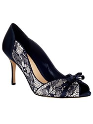 Phase Eight Mia Lace Peep Toe Shoes Blue
