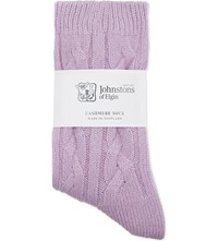 Johnstons Cable Knit Cashmere Socks Matisse