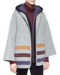 Loro Piana Cashmere Harvie Striped Hooded Caban Coat Women's Flannel Mel Fancy