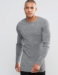 Asos Longline Muscle Fit Ribbed Jumper Black And White Twist Grey
