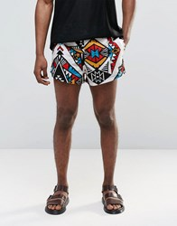 Jaded London Retro Shorts With All Over Kaleidoscope Print Black