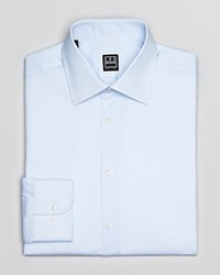Ike Behar Mini Check Dress Shirt Classic Fit Powder Blue