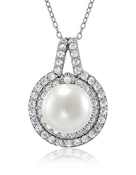 Lord And Taylor Faux Pearl Cubic Zirconia Sterling Silver Halo Pendant Necklace