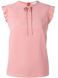 Red Valentino Ruffle Trim Blouse Pink Purple