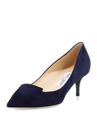 Jimmy Choo Allure Suede Kitten Heel Pump Navy