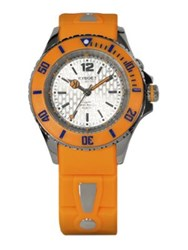 Kyboe Neon Orange Silicone And Stainless Steel Strap Watch 40Mm