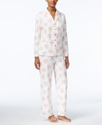 Charter Club Printed Fleece Pajama Set Only At Macy's Ivory Roses