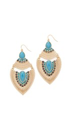 Adia Kibur Layla Earrings Gold Blue