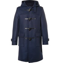 Mackintosh Wool Hooded Coat Blue